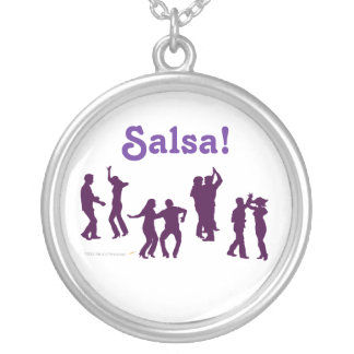 Salsa Dancing Poses Silhouettes Custom Silver Plated Necklace