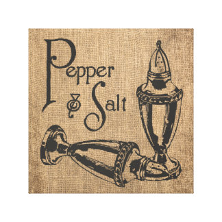 Salt and pepper burlap wrapped canvas canvas print