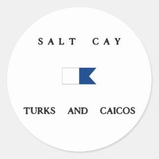 Salt Cay Turks and Caicos Alpha Dive Flag Round Sticker