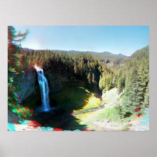 Salt Creek Falls Oregon 3D Anaglyph Poster