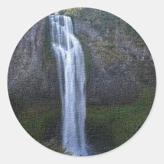 Salt creek Falls, Oregon Artwork Classic Round Sticker