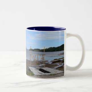 Salt Fish Drying, Newfoundland Two-Tone Coffee Mug