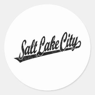 Salt Lake City script logo in black distressed Classic Round Sticker