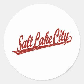 Salt Lake City script logo in red distressed Round Sticker
