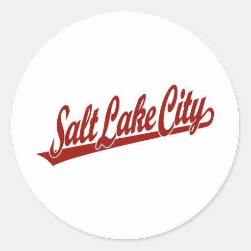 Salt Lake City script logo in red Stickers