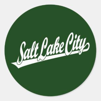 Salt Lake City script logo in white Round Sticker