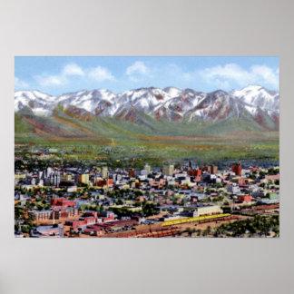 Salt Lake City Utah Aerial View Poster