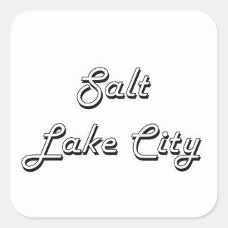 Salt Lake City Utah Classic Retro Design Square Sticker