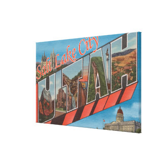 Salt Lake City, Utah - Large Letter Scenes 2 Stretched Canvas Print