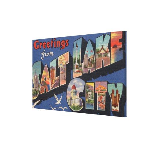 Salt Lake City, Utah - Large Letter Scenes Stretched Canvas Prints