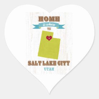 Salt Lake City, Utah Map – Home Is Where Heart Sticker