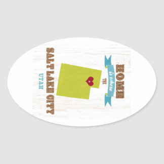Salt Lake City, Utah Map – Home Is Where Oval Sticker