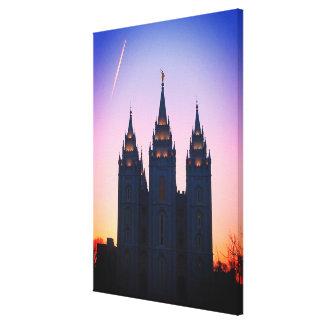 Salt Lake City, Utah Mormon Temple Art Canvas Print
