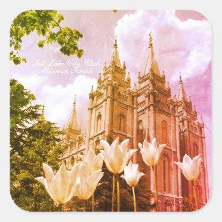 Salt Lake City, Utah Mormon Temple Art Square Sticker