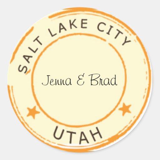 Salt Lake City with Stars Round Stickers