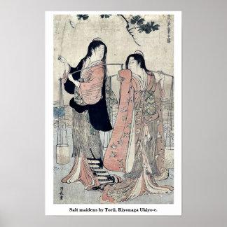Salt maidens by Torii, Kiyonaga Ukiyo-e. Posters