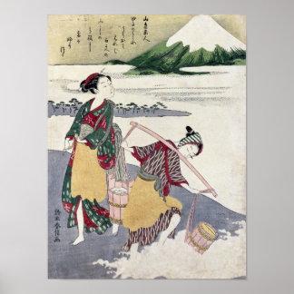 Salt Maidens on the Tago-no-ura Beach Print