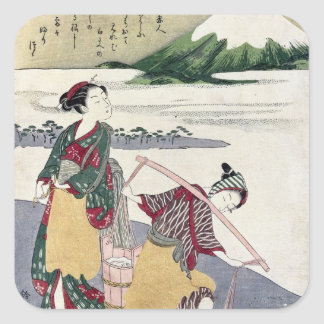 Salt Maidens on the Tago-no-ura Beach Square Sticker
