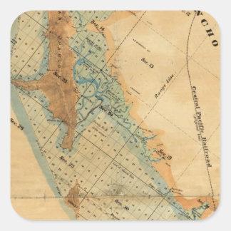 Salt marsh and tide lands map square sticker