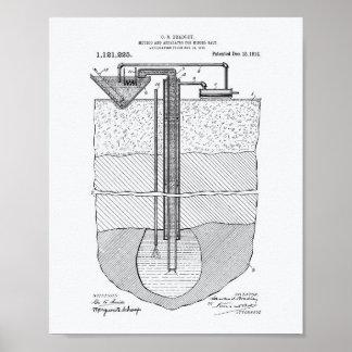 Salt Mining Apparatus 1914 Patent Art White Paper Poster