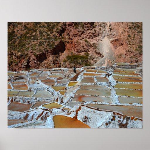Salt Pans in Maras, Peru Poster