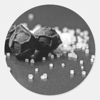 Salt Pepper Macro Image In Studio Round Stickers