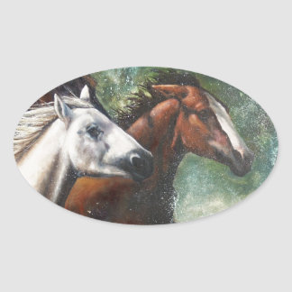 Salt River Wild Horses Oval Sticker