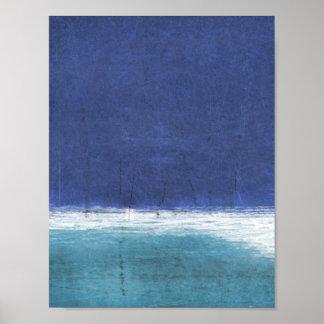 'Salt Water' Blue Abstract Art Poster