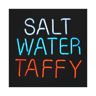 Salt Water Taffy Neon Sign Stretched Canvas Prints