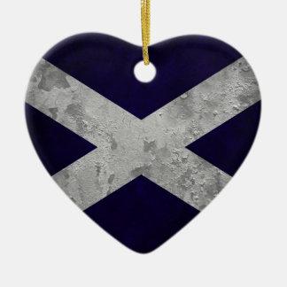 Saltire Grunge Ceramic Heart Decoration