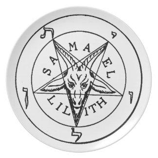 Samael Lilith Goat Pentagram Dinner Plates