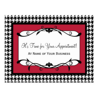 Samba Red Houndstooth Appointment Reminder Postcard