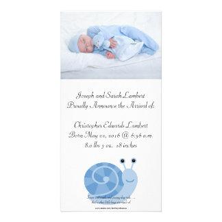 """SammieSnail 8"""" x 4"""" Photocard Birth Announcement Customised Photo Card"""