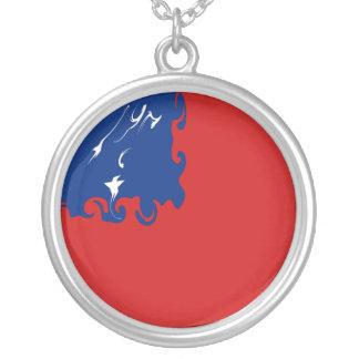 Samoa Gnarly Flag Round Pendant Necklace