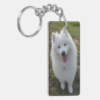 Samoyed dog beautiful photo, gift Double-Sided rectangular acrylic key ring