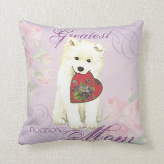 Samoyed Heart Mom Cushion
