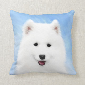 Samoyed Puppy Painting - Cute Original Dog Art Cushion