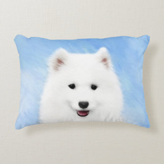 Samoyed Puppy Painting - Cute Original Dog Art Decorative Cushion