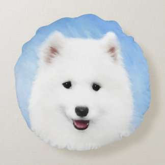Samoyed Puppy Painting - Cute Original Dog Art Round Cushion