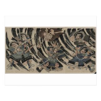 Samurai and Demon circa 1818 Postcard