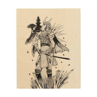 Samurai Chick Wood Print