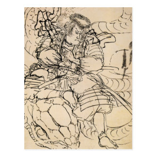Samurai defeating serpent c. 1800's postcard