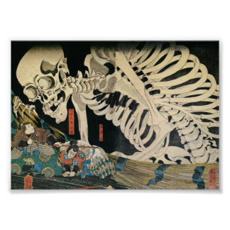 Samurai Fighting and a Giant Skeleton c. 1800's Poster