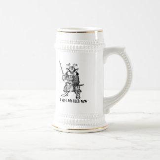 Samurai funny beer mug