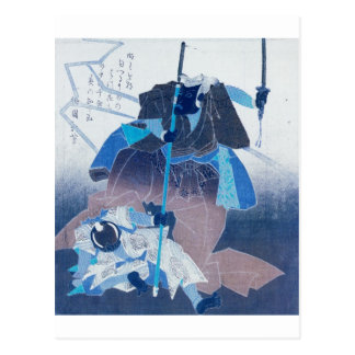 Samurai in combat Painting c. 1800's. Japan. Postcard