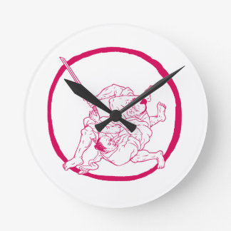Samurai Jui Jitsu Fighting Enso Drawing Round Clock