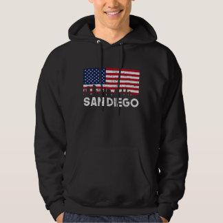 San Diego CA American Flag Skyline Distressed Hoodie