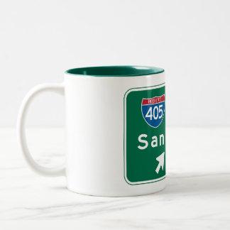 San Diego, CA Road Sign Two-Tone Coffee Mug