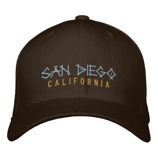 San Diego California Embroidered Hat on brown