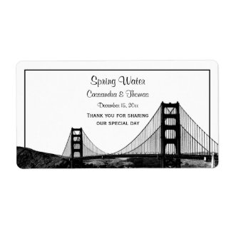 San Fran Skyline Etched BW H Water Bottle Shipping Label